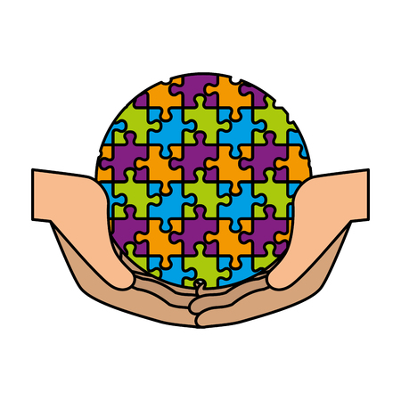 hands protection sphere planet with puzzle attached vector illustration design
