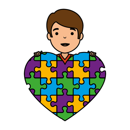 young boy with heart puzzle attached vector illustration design Banque d'images - 124667750