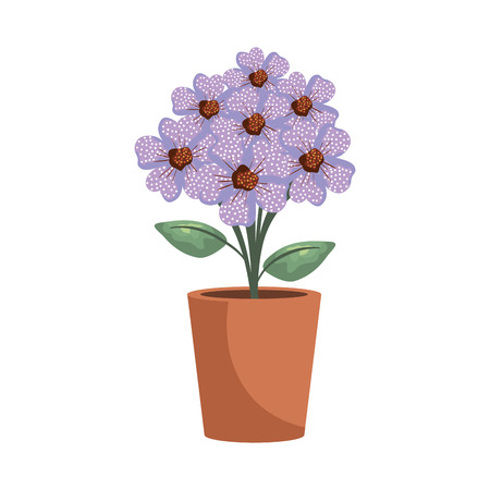 floral decoration in clay pot vector illustartion design Stock Vector - 124667790