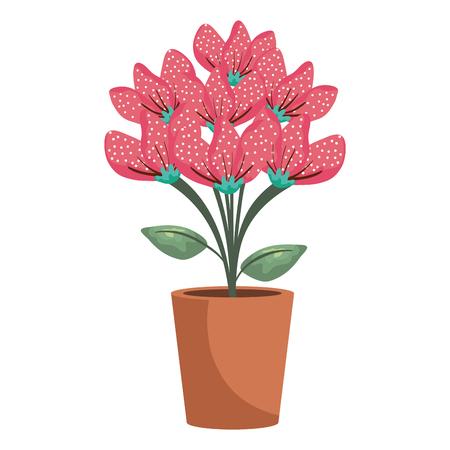 floral decoration in clay pot vector illustartion design