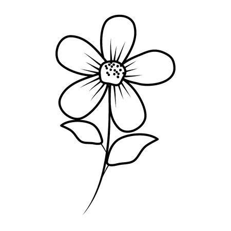 beautiful flower and leafs decorative icon vector illustration design