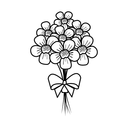 beutiful flowers bouquet with bowtie vector illustartion design Stock Vector - 124667832