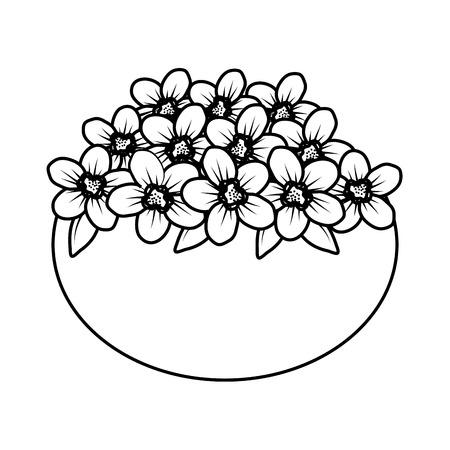floral decoration in ceramic pot vector illustartion design Stock Vector - 124667844