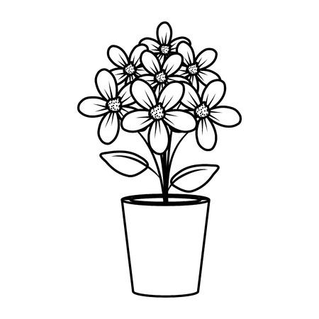 floral decoration in clay pot vector illustartion design Stock Vector - 124667848