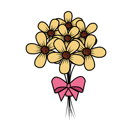 beutiful flowers bouquet with bowtie vector illustartion design Stock Vector - 124667874