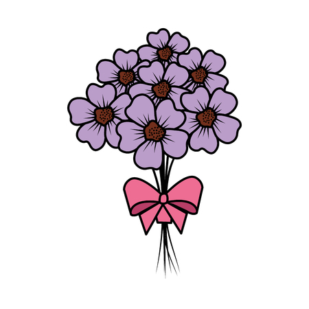 beutiful flowers bouquet with bowtie vector illustartion design Stock Vector - 124667877