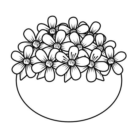 floral decoration in ceramic pot vector illustartion design Stock Vector - 124667895