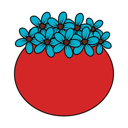 floral decoration in ceramic pot vector illustartion design Stock Vector - 124667903