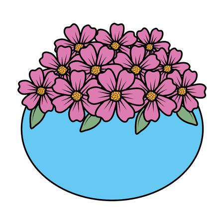 floral decoration in ceramic pot vector illustartion design