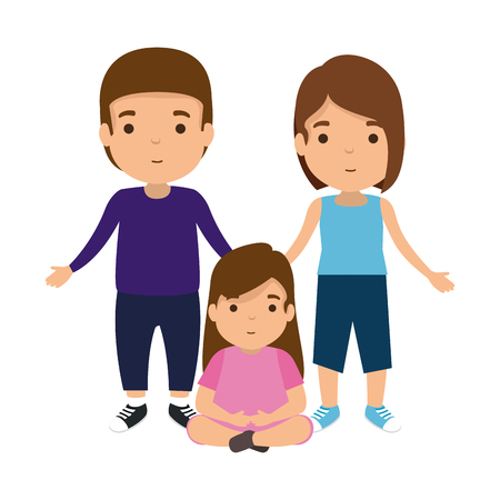 parents couple with daughter characters vector illustration design