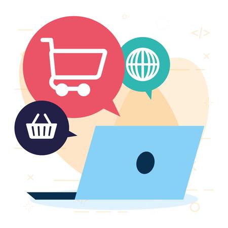 online shopping laptop basket cart world vector illustration