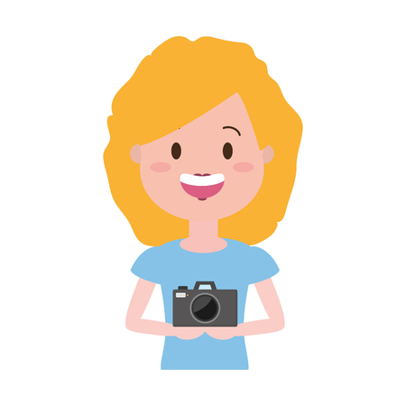 woman with photo camera cartoon vector illustration Illustration