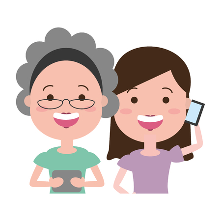 old woman and girl using mobile tech device vector illustration Banque d'images - 124618648