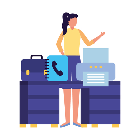 business woman work office desk printer book vector illustration Ilustracja