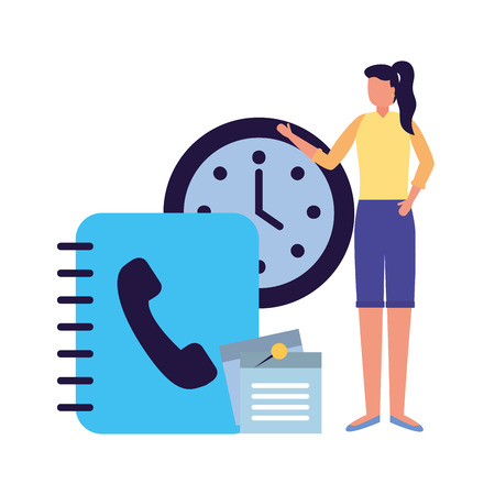 business woman work office address book clock vector illustration