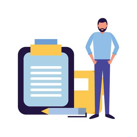 businessman work office report file pen vector illustration Ilustração