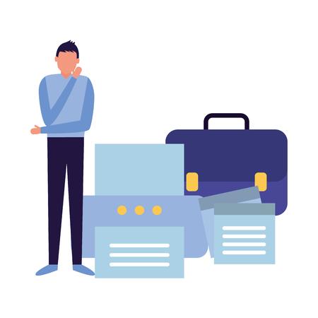 Businessman with porte-documents imprimante portefeuille papier vector illustration