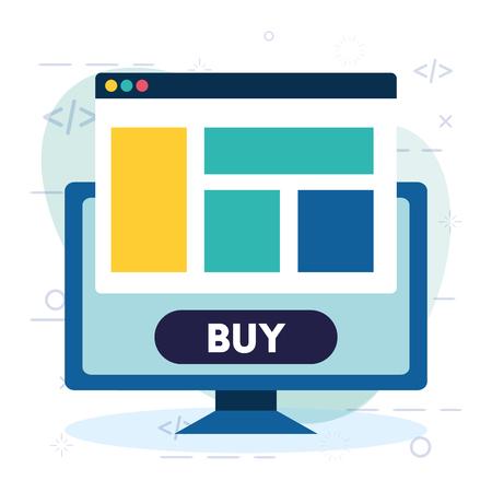 online shopping computer website buy button vector illustration Illustration
