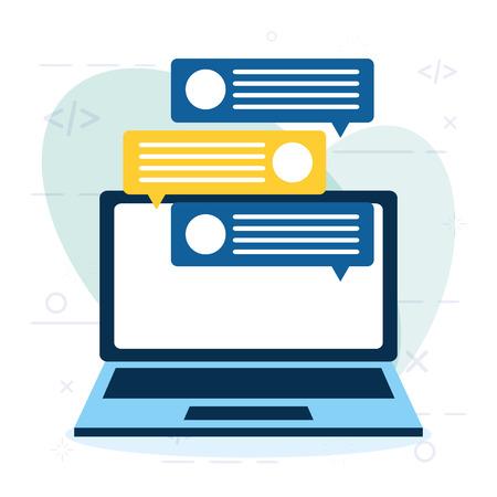 achats en ligne, ordinateur portable, chat, message, vecteur, illustration