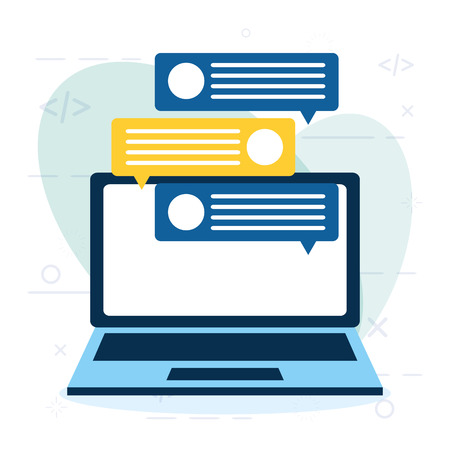 online winkelen laptop chatbericht vectorillustratie
