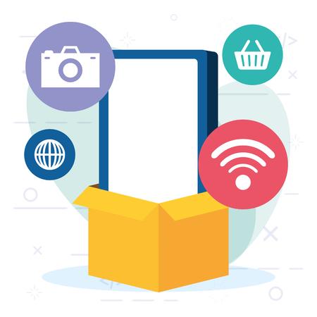 online shopping cellphone box cargo vector illustration Ilustração
