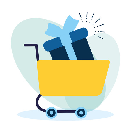 online shopping cart and gift box vector illustration Illustration