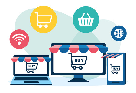 online shopping computer cellphone laptop vector illustration Illustration