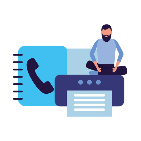 businessman work office printer address book vector illustration Illustration