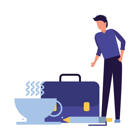 businessman with coffee cup briefcase and pen vector illustration