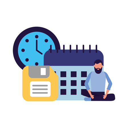 Geschäftsmann Arbeit Büro Kalender Uhr Diskette Vektor-Illustration