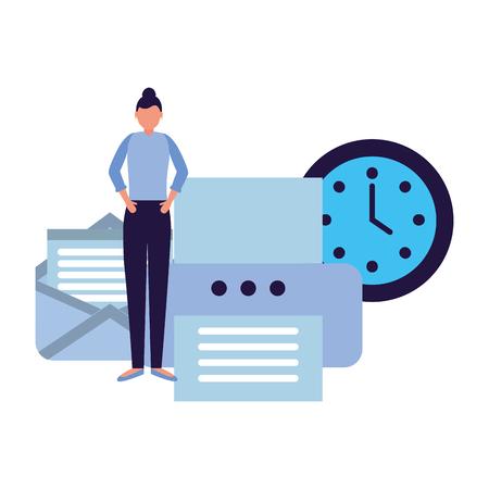 business woman work office printer email clock vector illustration Çizim