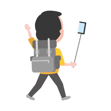 man taking selfie travel bag vector illustration