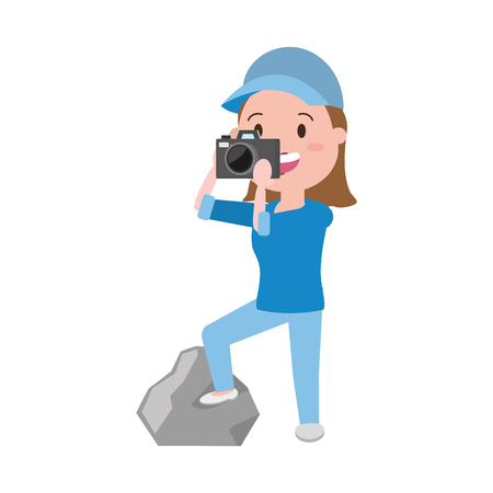 woman tourist taking photo with camera vector illustration Stock Illustratie