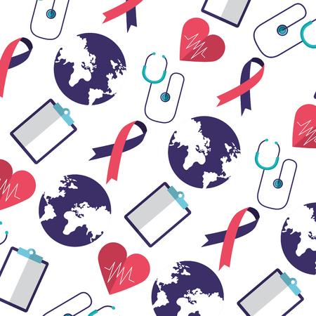 background clipboard heartbeat ribbon world health day vector illustration
