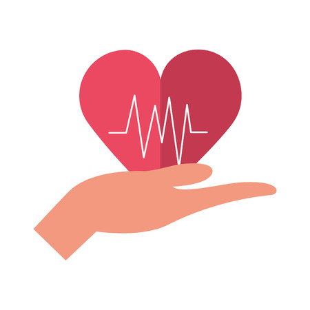 hand with heartbeat world health day vector illustration Çizim