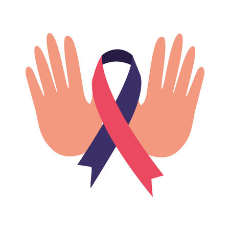 hands ribbon world health day vector illustration