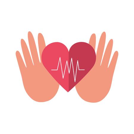 hands heartbeat world health day vector illustration