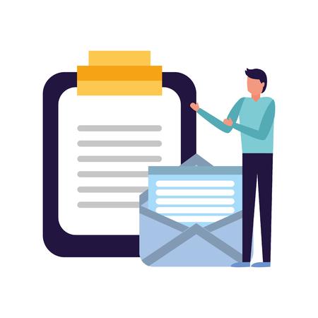 businessman work office report email vector illustration Ilustração