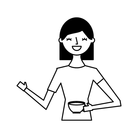 happy woman holding cup coffee vector illustration