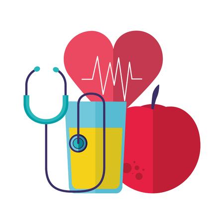 Apfelsaft Herzschlag Stethoskop Gesundheit Vektor-Illustration