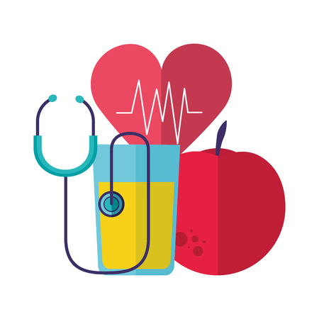 apple juice heartbeat stethoscope health vector illustration 向量圖像