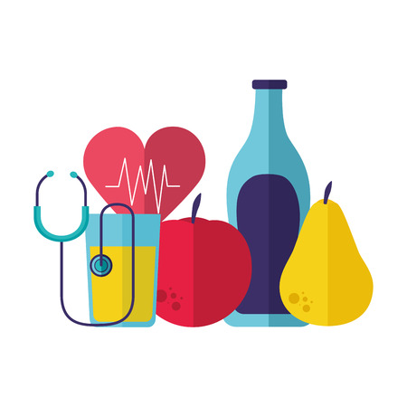 fruits water heart stethoscope health vector illustration Illusztráció