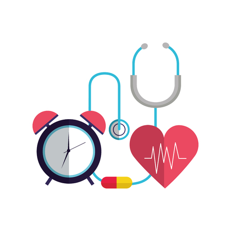 heart stethoscope clock medicine world health day vector illustration