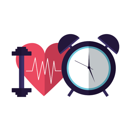 heart sport barbell clock world health day vector illustration Ilustrace