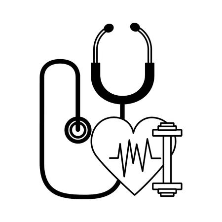 heart stethoscope fitness barbell world health day vector illustration