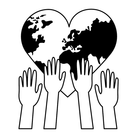 raised hands heart made world health day vector illustration 向量圖像