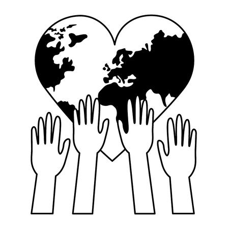 raised hands heart made world health day vector illustration Illustration