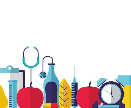 clock sport food stethoscope world health day vector illustration