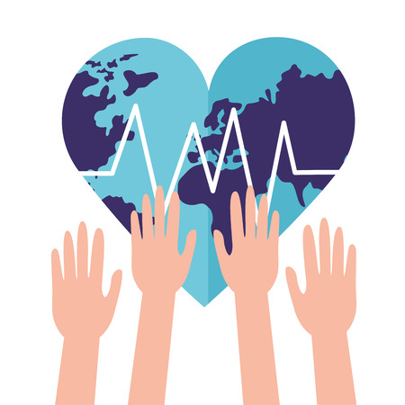 raised hands heart made world health day vector illustration Çizim
