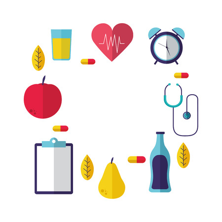 heart fruit medicine stethoscope clock health vector illustration